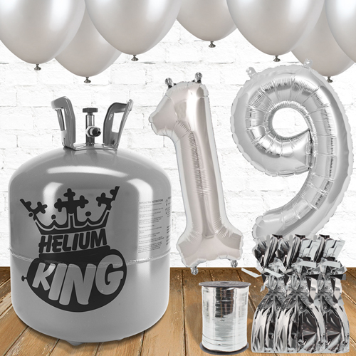 19th Birthday Helium Gas Package with Silver Balloons Product Image