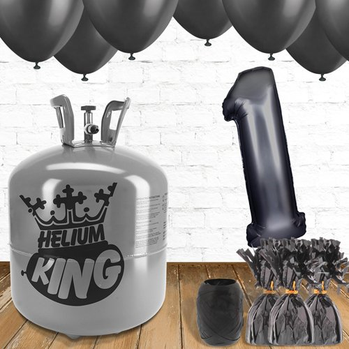 1st Birthday Helium Gas Package with Black Balloons Product Image