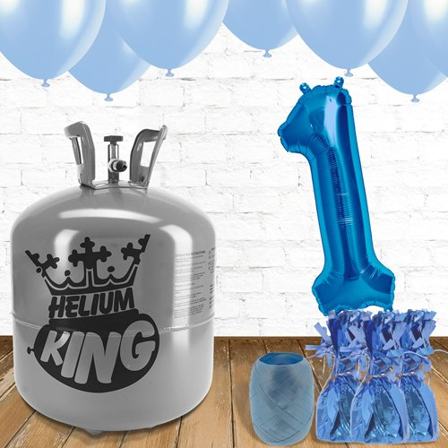 1st Birthday Helium Gas Package with Blue Balloons Product Image