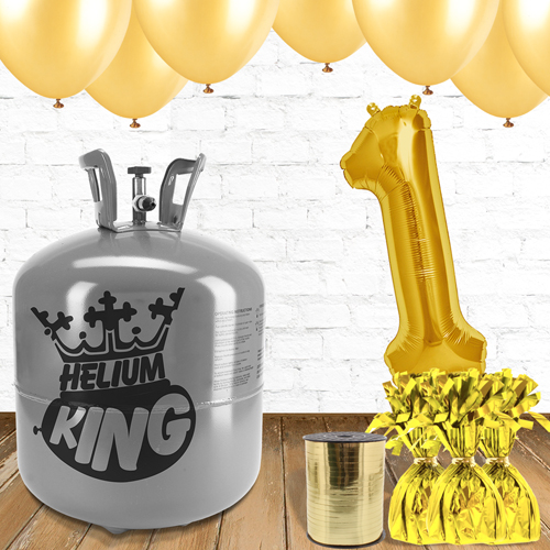 1st Birthday Helium Gas Package with Gold Balloons Product Image