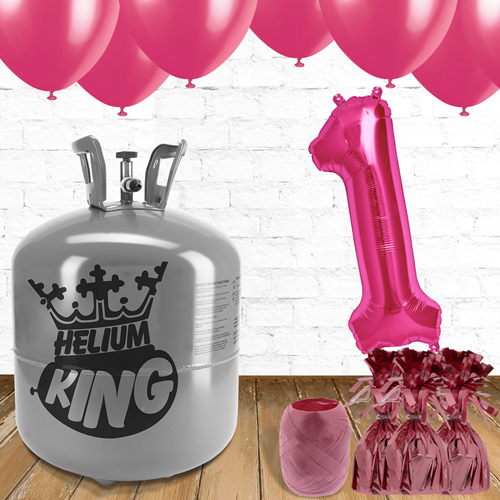 1st Birthday Helium Gas Package with Pink Balloons