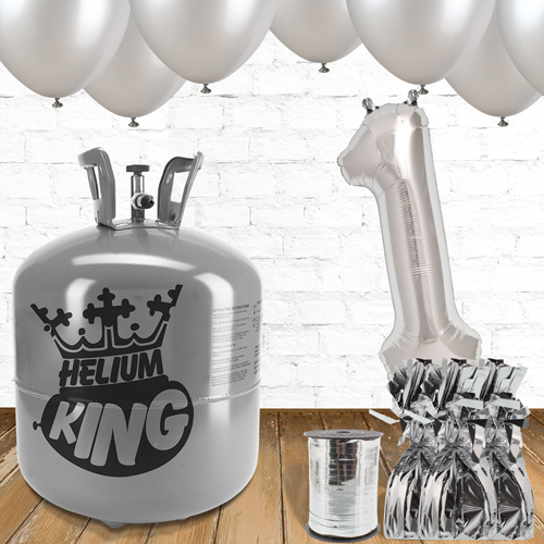 1st Birthday Helium Gas Package with Silver Balloons Product Image