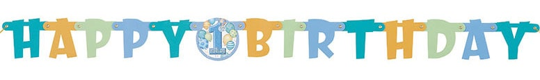 1st Birthday Blue Happy Birthday Jointed Letter Banner - 3.91 Ft / 120cm