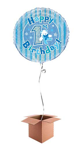 Happy 1st Birthday Blue Holographic Round Foil Balloon - Inflated Balloon in a Box