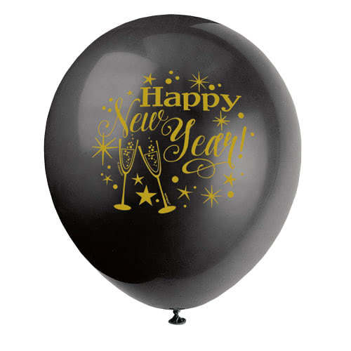 Glittering New Year Assorted Biodegradable Latex Balloons 30cm / 12Inch - Pack of 8 Product Gallery Image