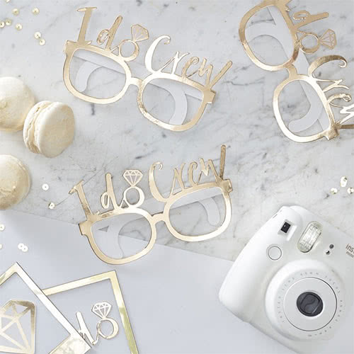 Hen Night 'I Do Crew' Gold Foiled Cardboard Party Glasses - Pack of 8 Product Gallery Image