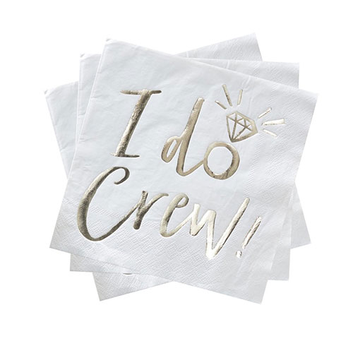 Hen Night 'I Do Crew' Gold Foiled Paper Napkins 33cm 2Ply - Pack of 16 Product Gallery Image