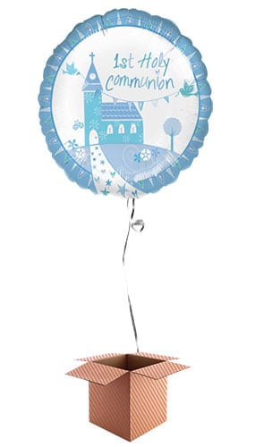 1st Holy Communion Blue Round Foil Balloon - Inflated Balloon in a Box Product Image