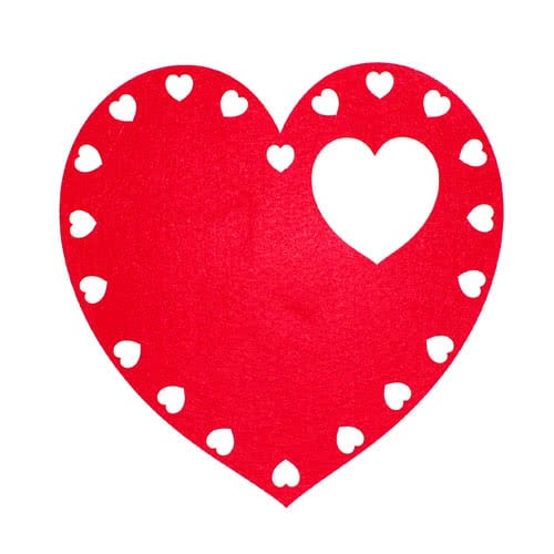 Valentines Heart Shaped Felt Placemat And Coaster Set Product Gallery Image