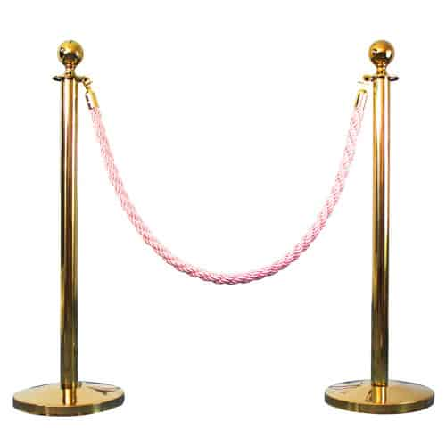 2 Prestige Brass Poles With 1 Pink Braided Rope Product Image