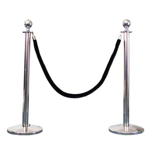 2 Prestige Chrome Poles With 1 Black Velvet Rope Product Image