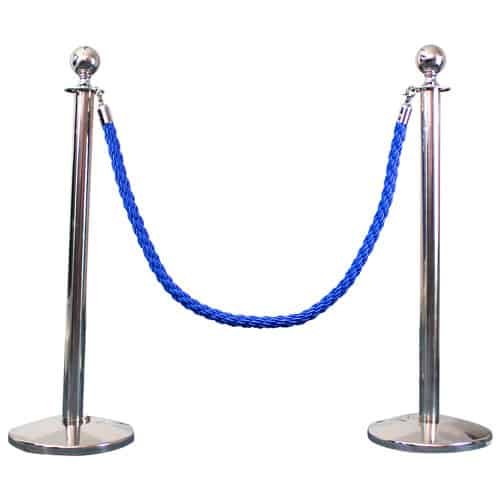 2 Prestige Chrome Poles With 1 Blue Braided Rope Product Image