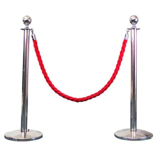 2 Prestige Chrome Poles With 1 Red Braided Rope Product Image