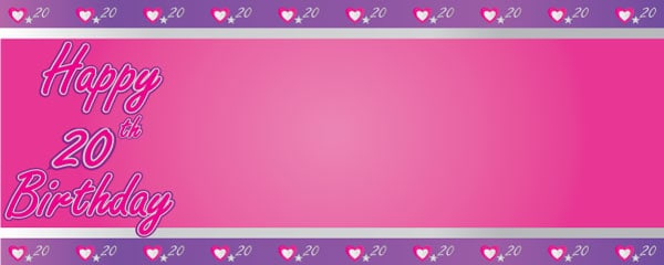 Happy 20th Birthday Pink and Purple Hearts Design Small Personalised Banner - 4ft x 2ft