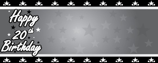Happy 20th Birthday Faded Stars Design Small Personalised Banner - 4ft x 2ft