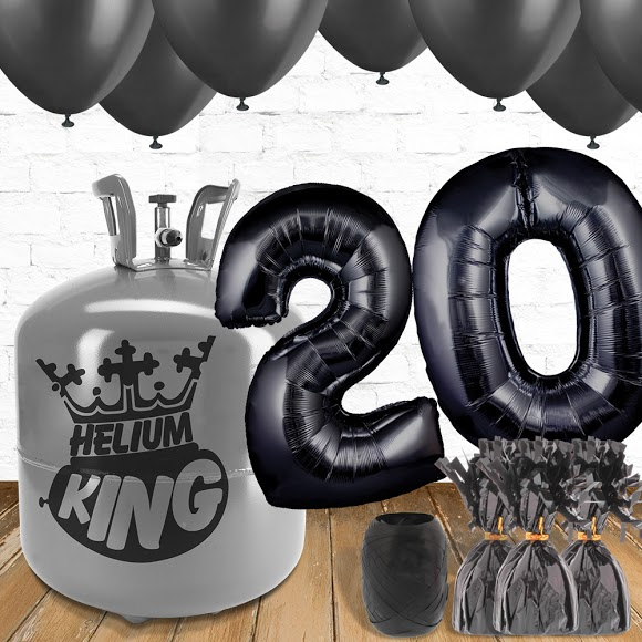 20th Birthday Helium Gas Package with Black Balloons Product Image