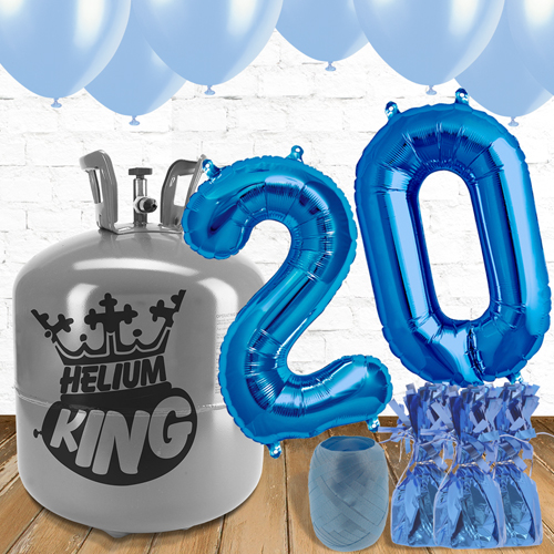 20th Birthday Helium Gas Package with Blue Balloons Product Image