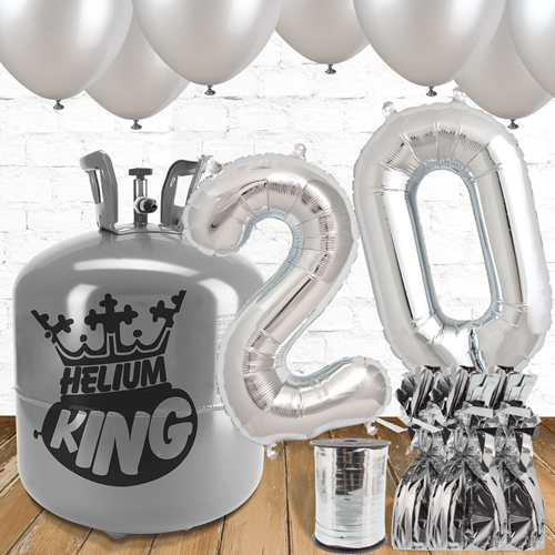 20th Birthday Helium Gas Package with Silver Balloons Product Image