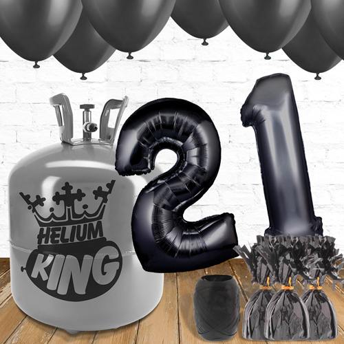 21st Birthday Helium Gas Package with Black Balloons Product Image