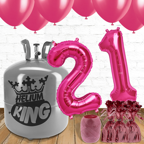 21st Birthday Helium Gas Package with Pink Balloons Product Image