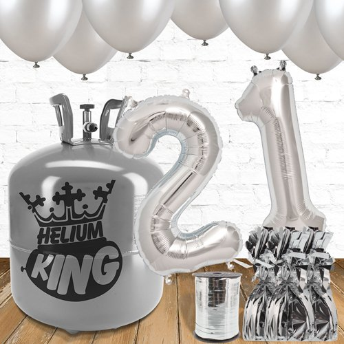 21st Birthday Helium Gas Package with Silver Balloons Product Image