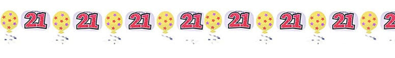 21st Birthday Foil Garland - 10 Ft / 305cm Product Image