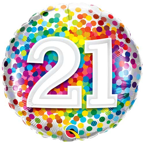21st Birthday Rainbow Confetti Round Foil Helium Qualatex Balloon 46cm / 18 in