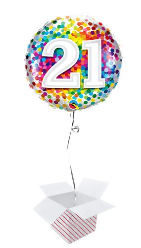 21st Birthday Rainbow Confetti Round Foil Helium Qualatex Balloon - Inflated Balloon in a Box