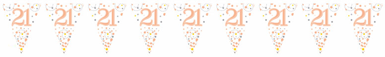 21st Birthday Rose Gold Holographic Foil Flag Bunting 3.9m