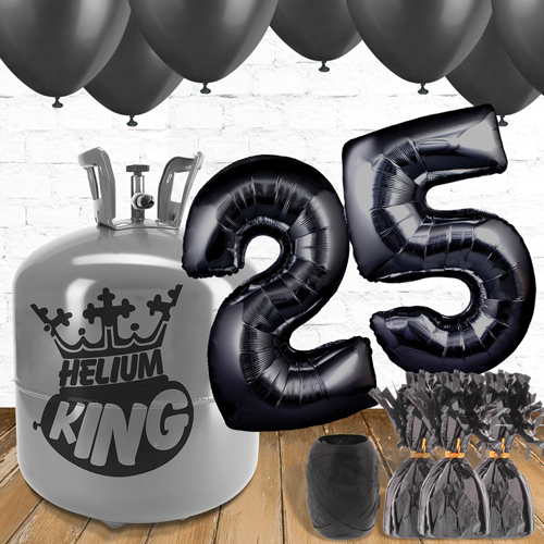 25th Birthday Helium Gas Package with Black Balloons Product Image
