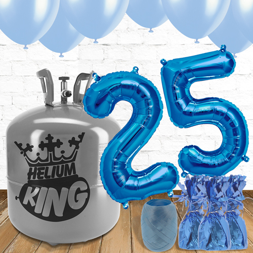 25th Birthday Helium Gas Package with Blue Balloons Product Image