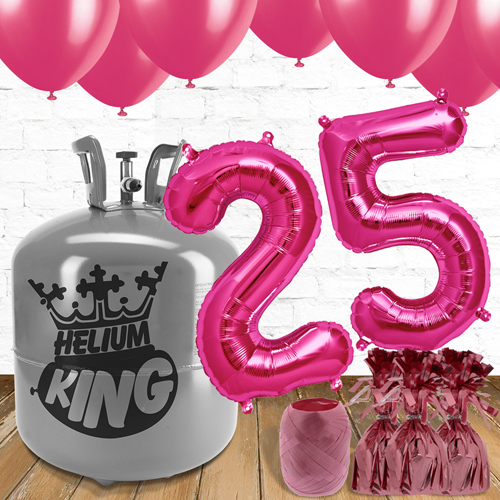 25th Birthday Helium Gas Package with Pink Balloons Product Image