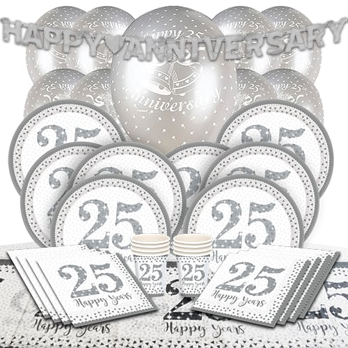 25th Silver Wedding Anniversary 8 Person Deluxe Party Pack