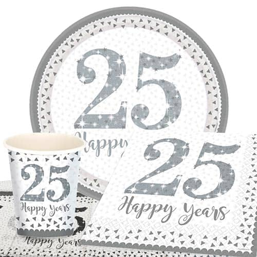 25th Silver Wedding Anniversary 8 Person Value Party Pack Product Image