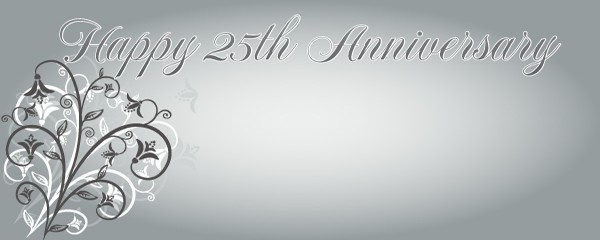 Happy 25th Anniversary Floral Design Small Personalised Banner - 4ft x 2ft