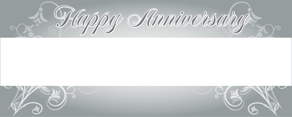 Happy Silver Anniversary Floral Design Small Personalised Banner - 4ft x 2ft