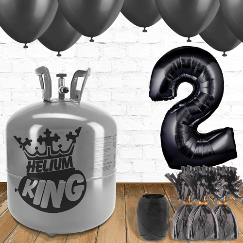 2nd Birthday Helium Gas Package with Black Balloons Product Image