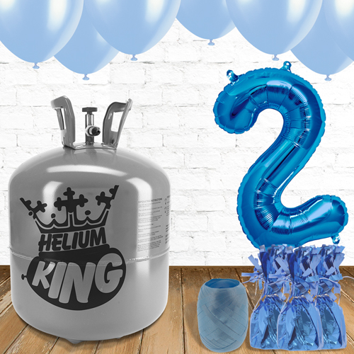 2nd Birthday Helium Gas Package with Blue Balloons Product Image