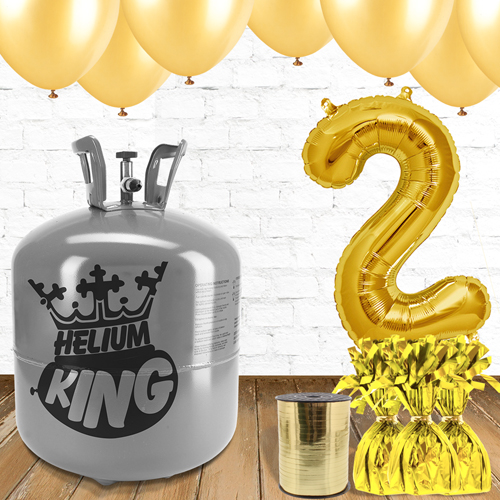 2nd Birthday Helium Gas Package with Gold Balloons Product Image
