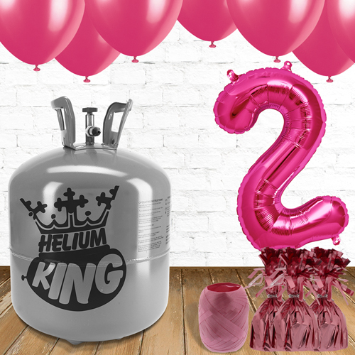 2nd Birthday Helium Gas Package with Pink Balloons