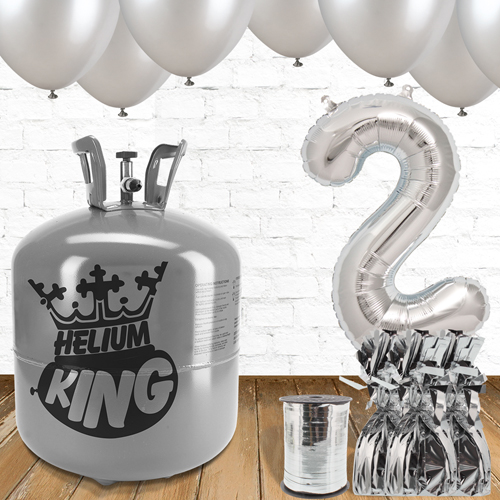 2nd Birthday Helium Gas Package with Silver Balloons Product Image