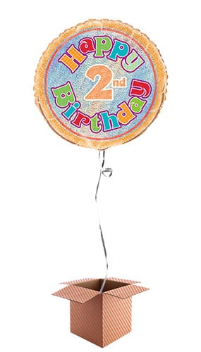 Happy 2nd Birthday Holographic Round Foil Balloon - Inflated Balloon in a Box