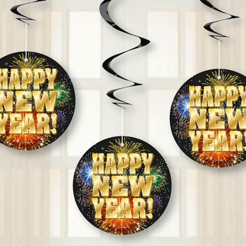 Fireworks New Year Hanging Swirl Decorations - Pack of 3
