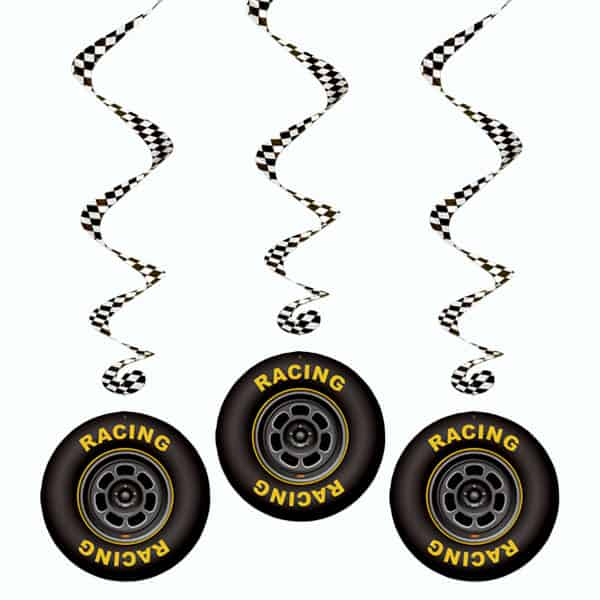 Racing Tyres Whirls Hanging Decoration - 42 Inches / 107cm - Pack of 3
