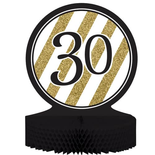 30 Black And Gold Honeycomb Centrepiece - 30cm