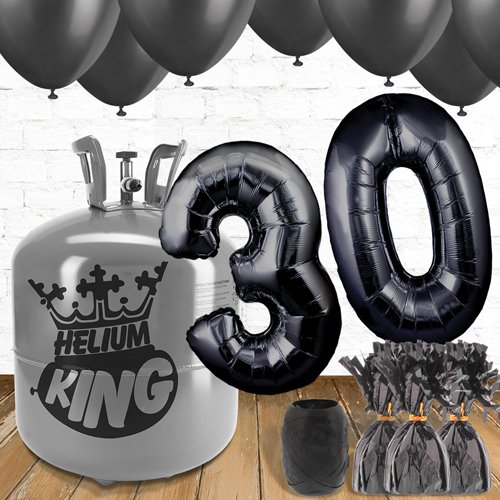 30th Birthday Helium Gas Package with Black Balloons Product Image