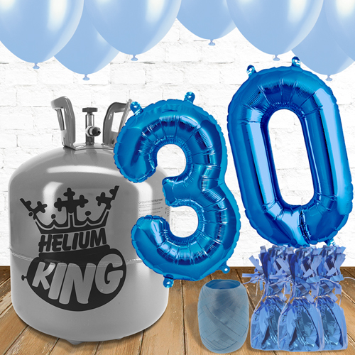 30th Birthday Helium Gas Package with Blue Balloons Product Image
