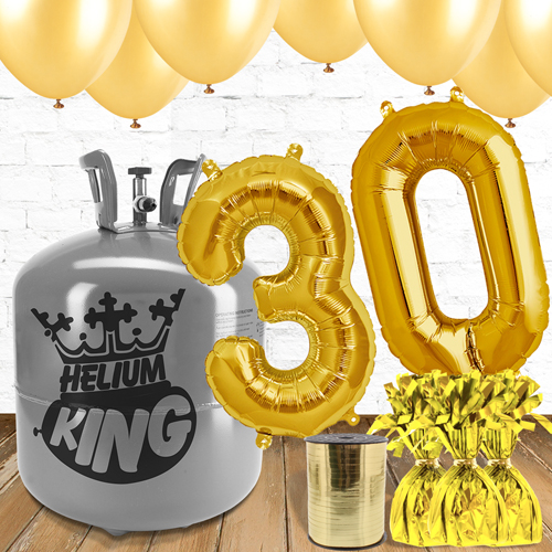 30th Birthday Helium Gas Package with Gold Balloons