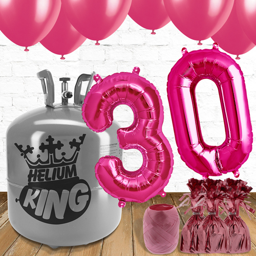 30th Birthday Helium Gas Package with Pink Balloons Product Image