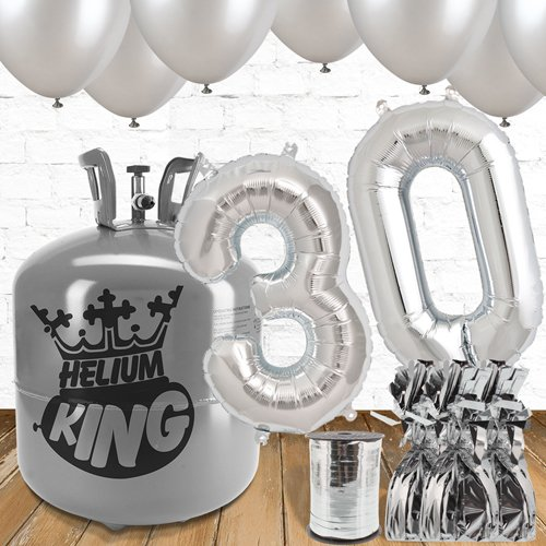 30th Birthday Helium Gas Package with Silver Balloons Product Image